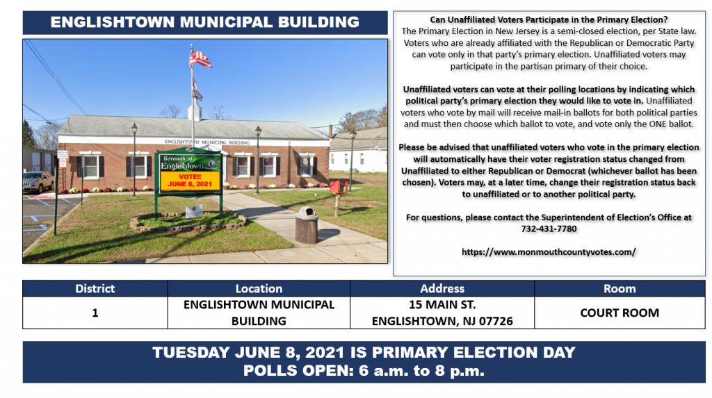 ENGLISHTOWN RESIDENTS: JUNE 8, 2021 IS PRIMARY ELECTION DAY (POLLS OPEN 6AM - 8PM)